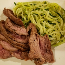 Grass fed beef tenderloin with pesto zucchini noodles.